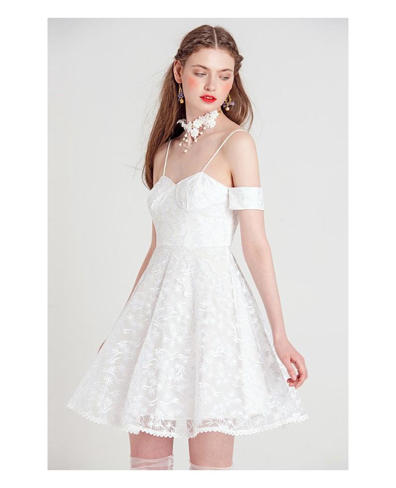 white spaghetti strap lace short party dress gemgrace