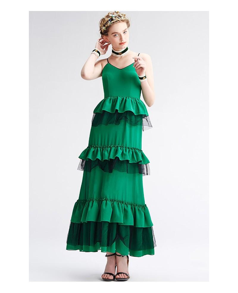 Green Spaghetti Strap Tiered Dress Gemgrace