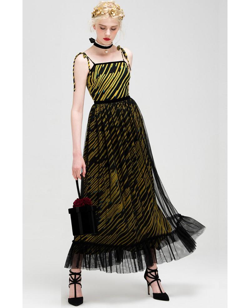 Yellow Stripe Spaghetti Strap Organza Wedding Guest Dress