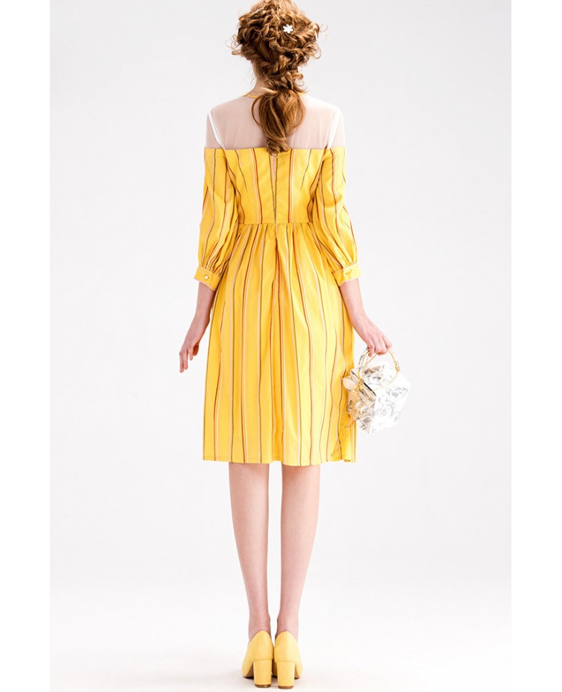 yellow stripe knee length wedding guest dress with 3 4 For3 4 Sleeve Wedding Guest Dress