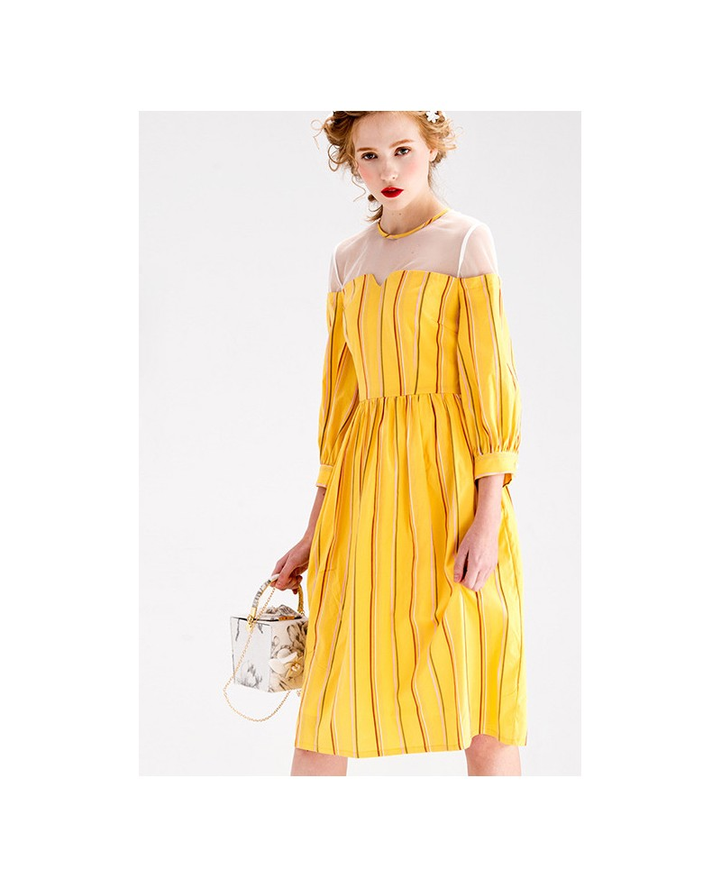 Yellow stripe knee length wedding guest dress with 3 4 for Knee length wedding dresses with sleeves