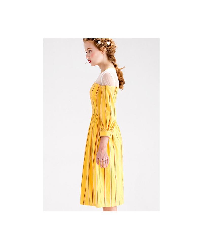 Yellow stripe knee length wedding guest dress with 3 4 for Wedding dress knee length with sleeves