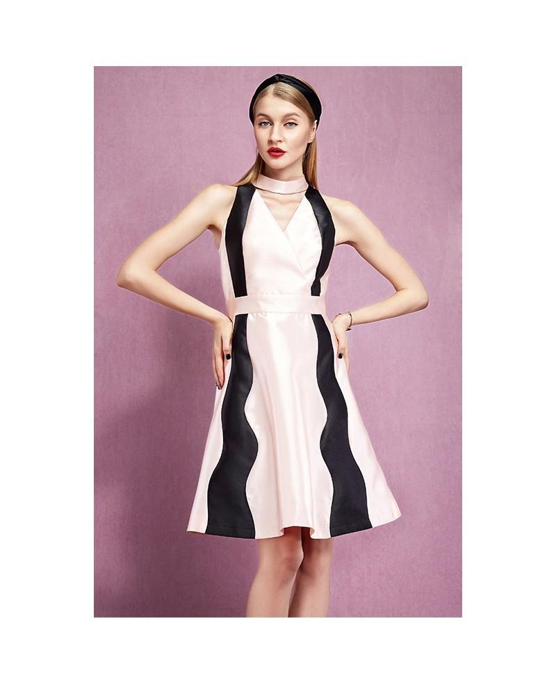 Romantic pink a line satin knee length wedding guest dress for Knee length dresses for wedding guests
