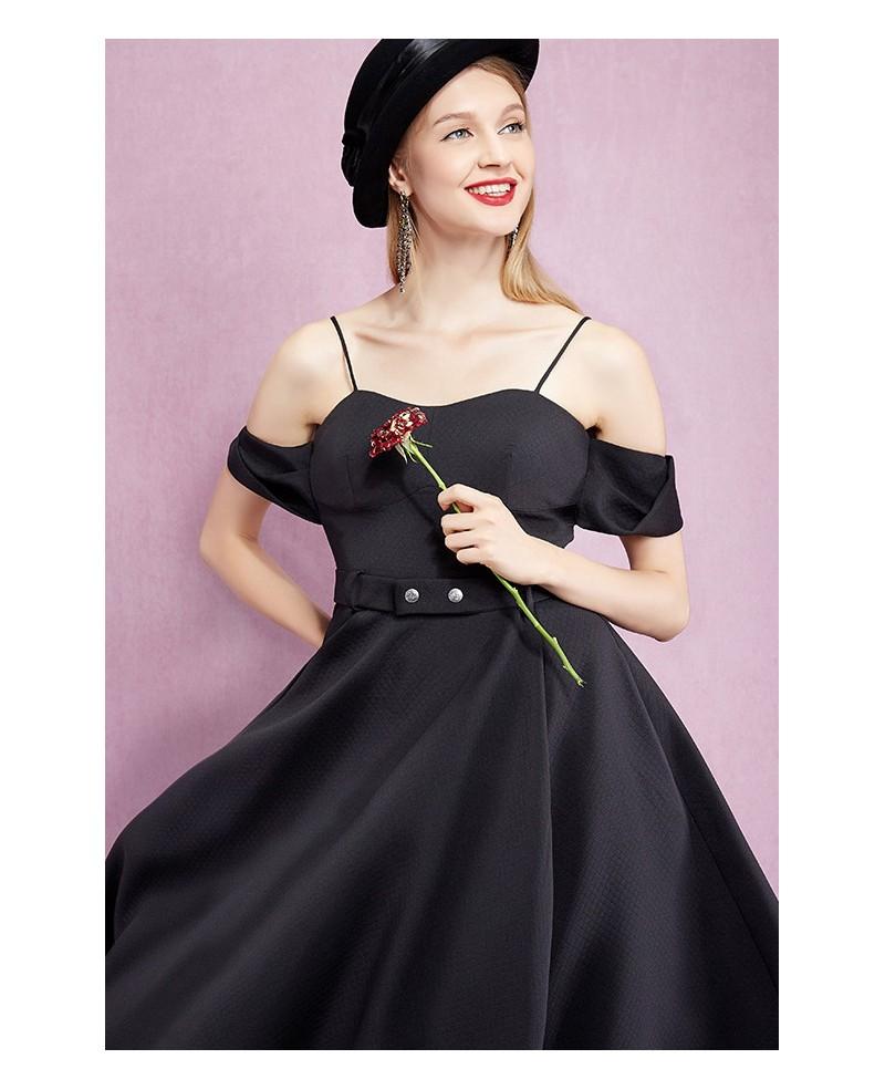 Spaghetti Strap Knee Length Little Black Dress Gemgrace