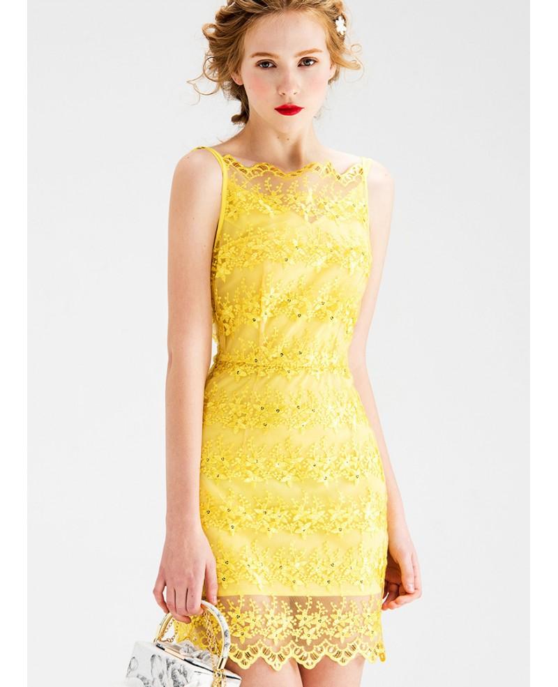Yellow Sheath Lace Short Wedding Guest Dress Gemgrace