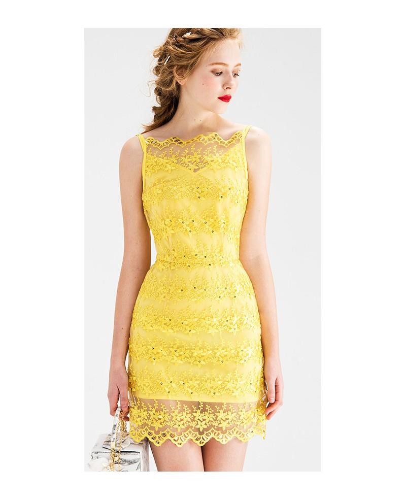 Lace Wedding Guest Dresses: Yellow Sheath Lace Short Wedding Guest Dress -GemGrace