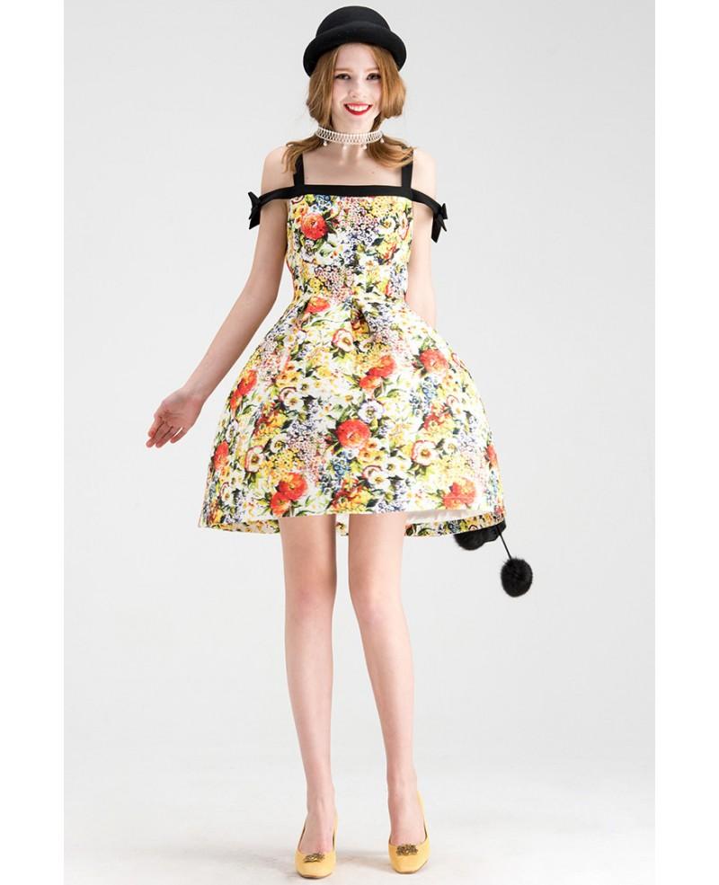 Off-the-shoulder Floral Print Short Wedding Guest Dress