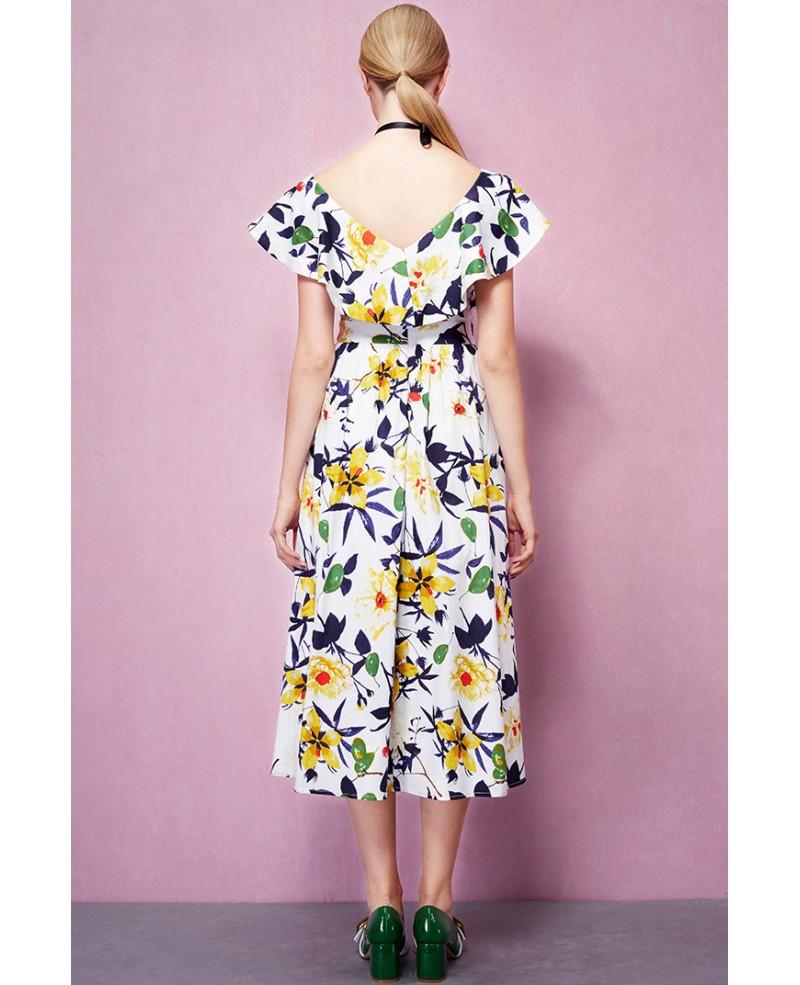 Cap Sleeves V Neck Floral Print Midi Wedding Guest Dress GemGrace