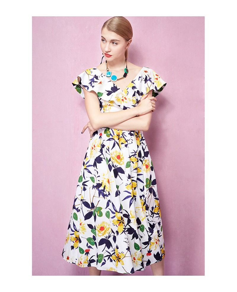 Cap Sleeves V-neck Floral Print Midi Wedding Guest Dress