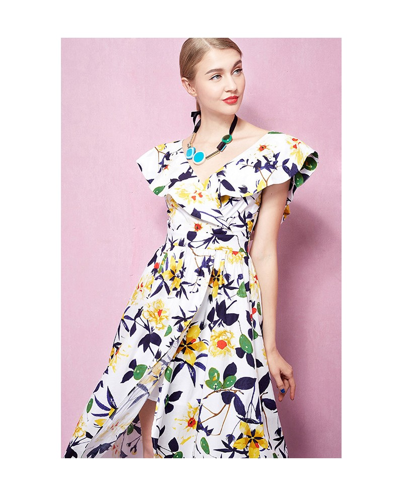 Cap sleeves v neck floral print midi wedding guest dress for Floral print dresses for weddings