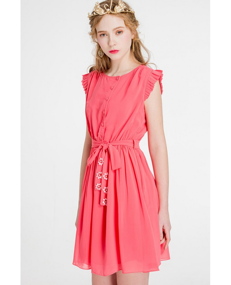 Adding Cap Sleeves Wedding Dress To: Cap Sleeves Watermelon Chiffon Short Wedding Guest Dress