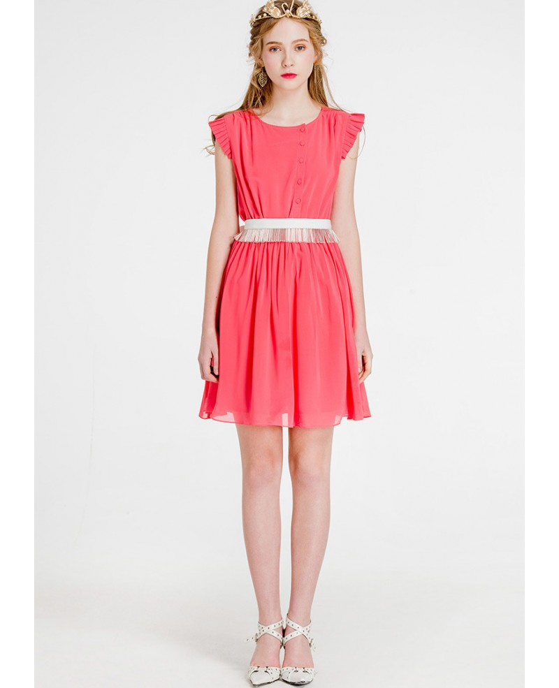 cap sleeves watermelon chiffon short wedding guest dress