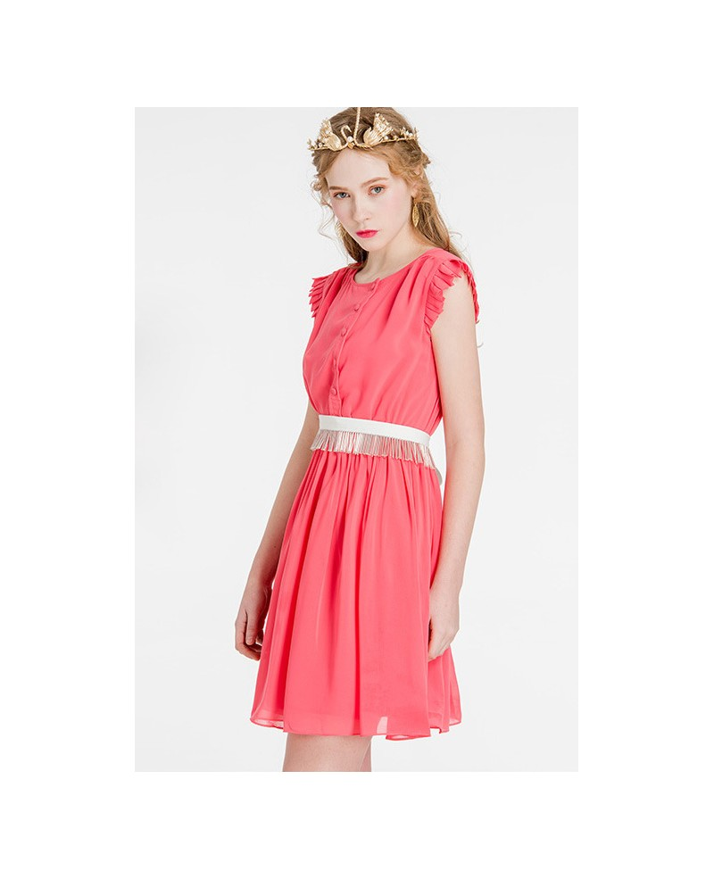 Wedding Guest Dress: Cap Sleeves Watermelon Chiffon Short Wedding Guest Dress