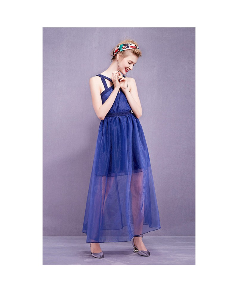 Blue organza long wedding guest dress gemgrace for Blue long dress wedding