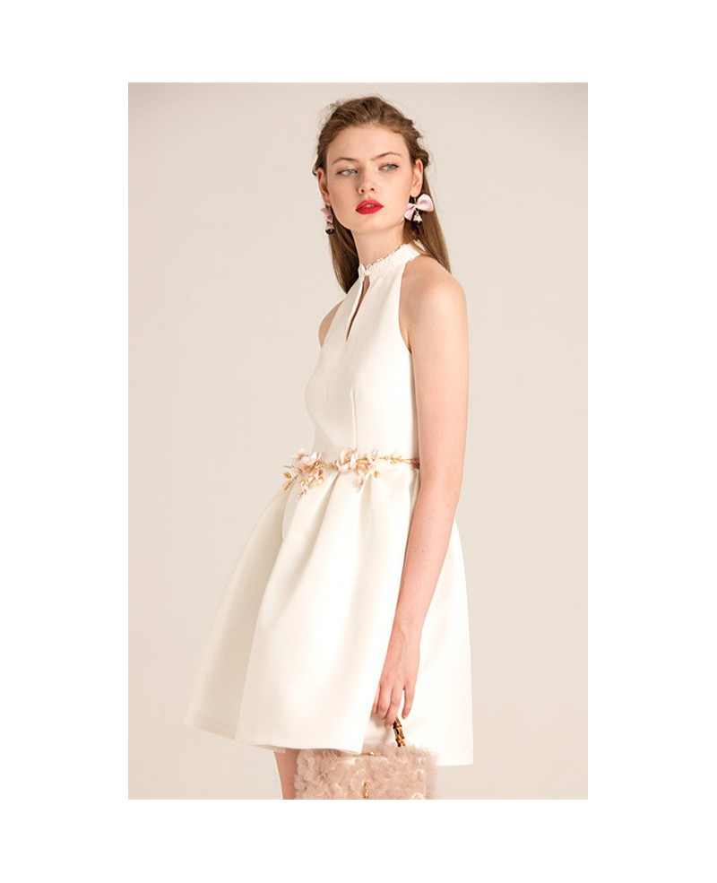 White High Neck Short Party Dress With Open Back -GemGrace