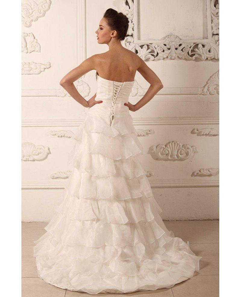 Ball gown sweetheart sweep train organza wedding dress for Sweep train wedding dress