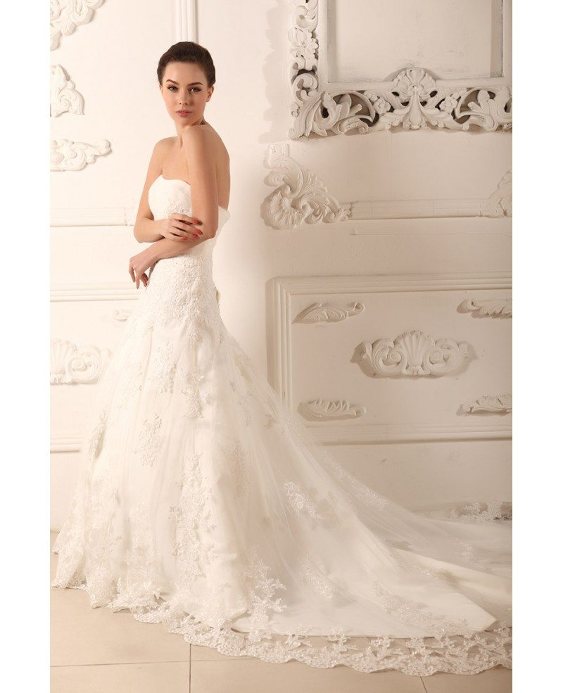 Ball gown strapless chapel train tulle wedding dress with for Wedding dresses chapel train