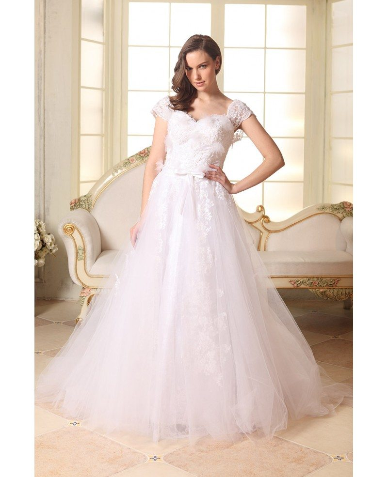 A line sweetheart sweep train tulle wedding dress with for A line sweetheart tulle wedding dress