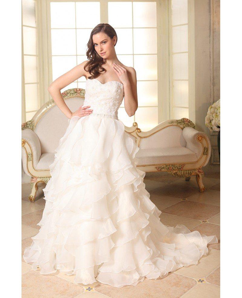 Ruffled Ball Gown Wedding Dress: Ball-gown Sweetheart Sweep Train Organza Wedding Dress