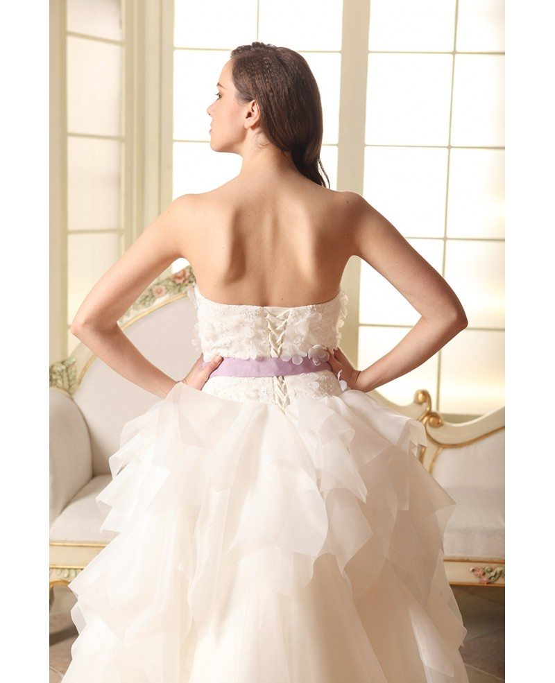 Ball gown strapless court train tulle wedding dress with for Tulle halter wedding dress
