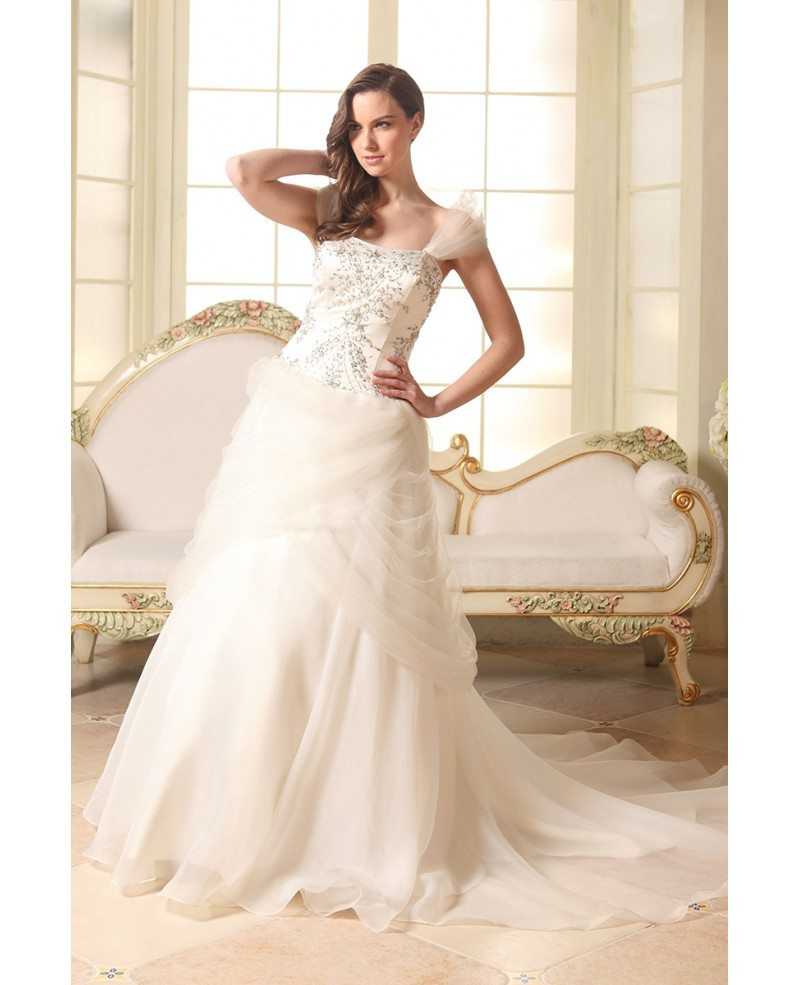 Ball-gown Strapless Court Train Organza Wedding Dress With Beading ...