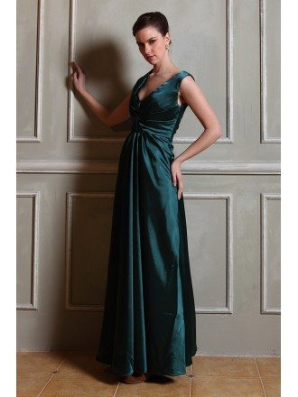 A-line V-neck Satin Floor-length Evening Dresses With Ruffle