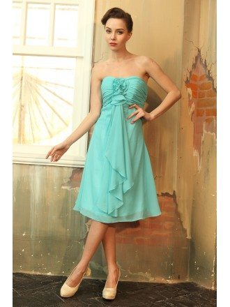 A-line Strapless Chiffon Knee-length Bridesmaid Dresses With Ruffle