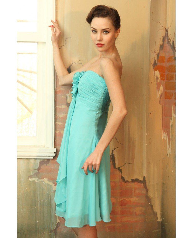 A-line Strapless Chiffon Knee-length Bridesmaid Dresses