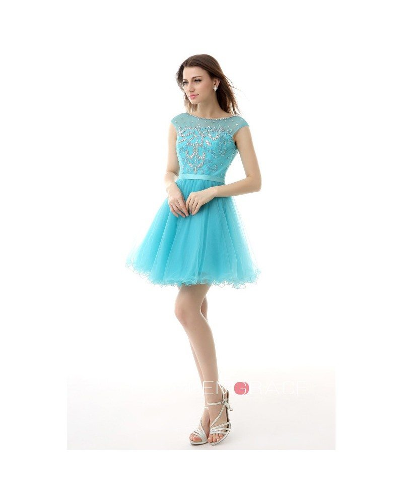 A-Line Scoop Neck Short Tulle Prom Dress With Appliques Lace ...