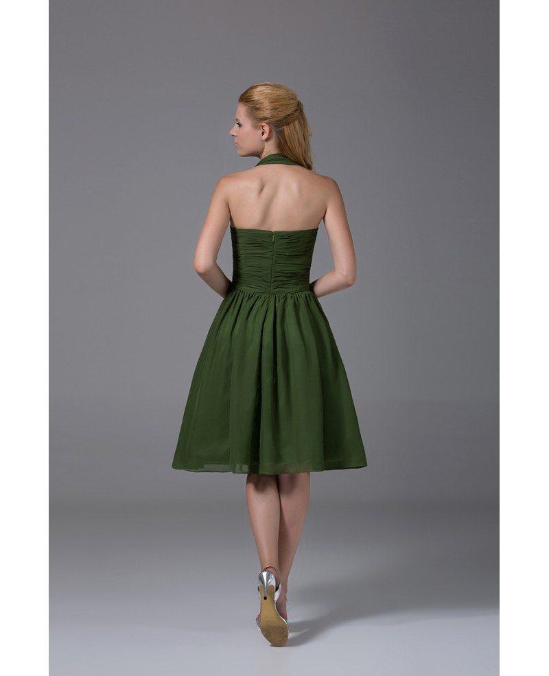 A-line Halter Knee-length Chiffon Bridesmaid Dress #OP4093
