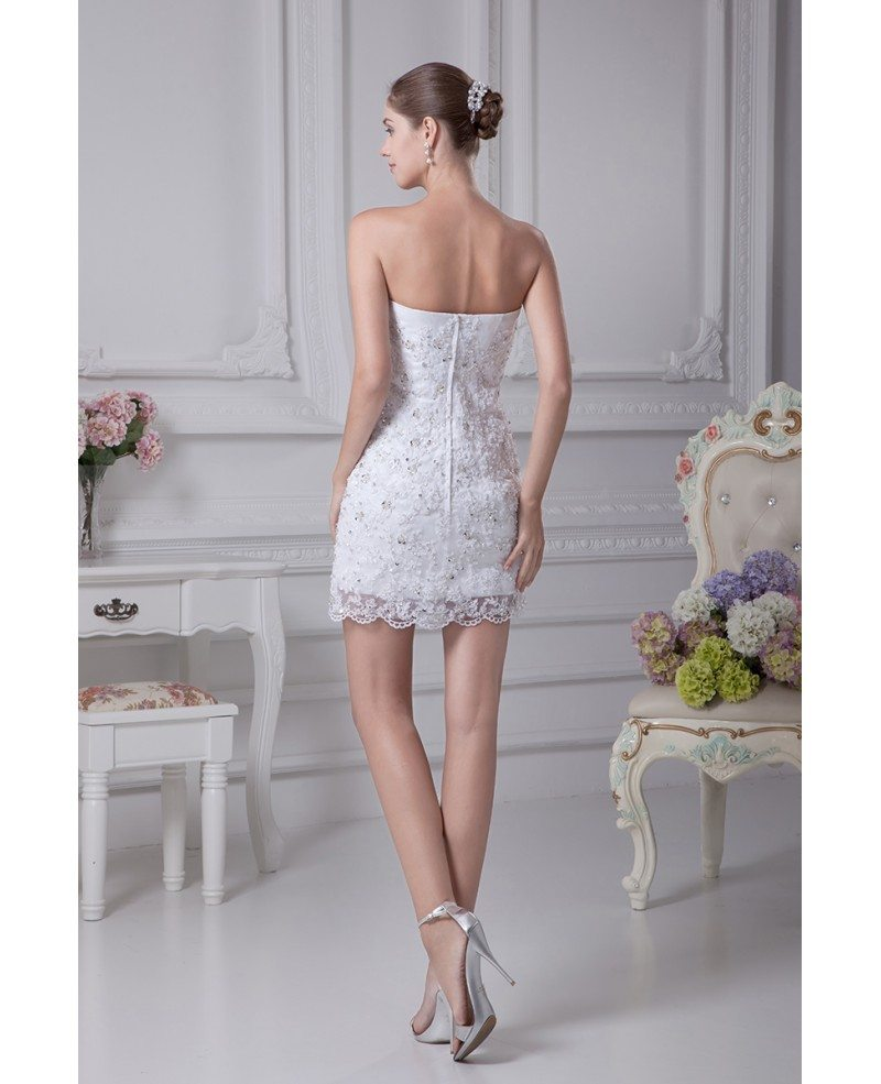 Fitted Simple Short Wedding Dresses Strapless Lace Satin