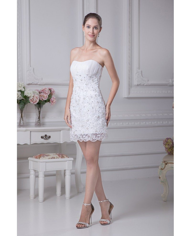 Fitted simple short wedding dresses strapless lace satin for Short sheath wedding dress
