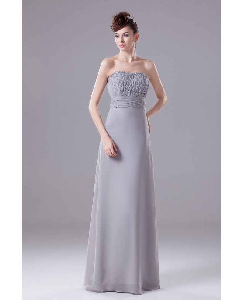 A Line Strapless Floor Length Chiffon Mother Of The Bride