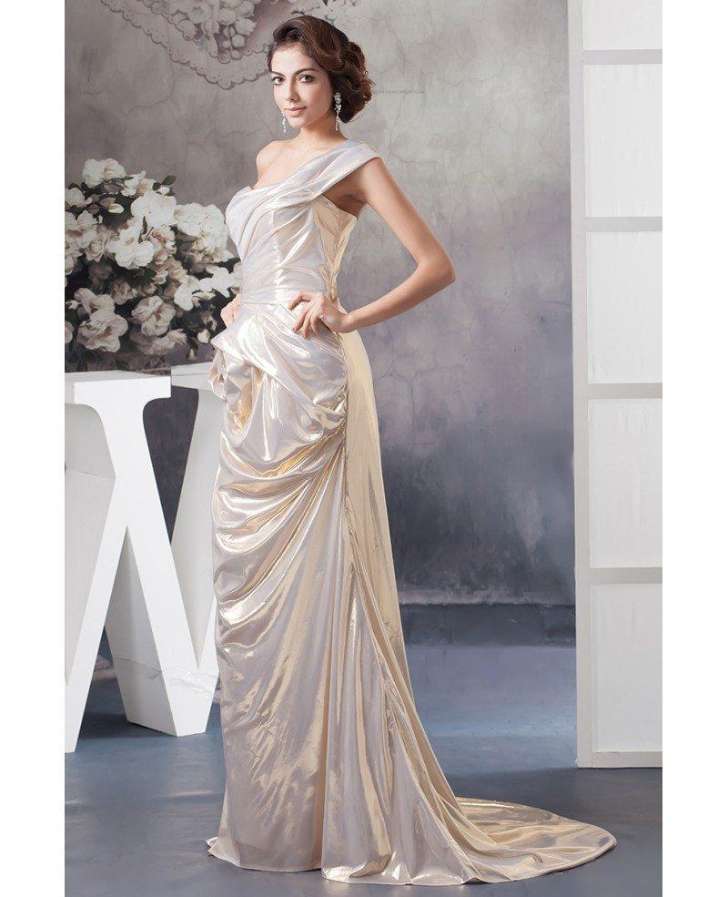 Sheath one shoulder sweep train taffeta wedding dress for Sweep train wedding dress