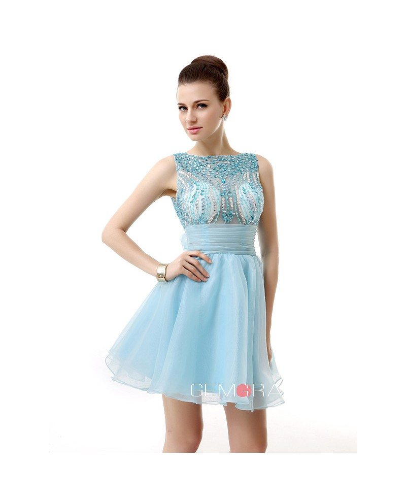 A-Line Scoop Neck Short Organza Prom Dress With Appliques Lace ...