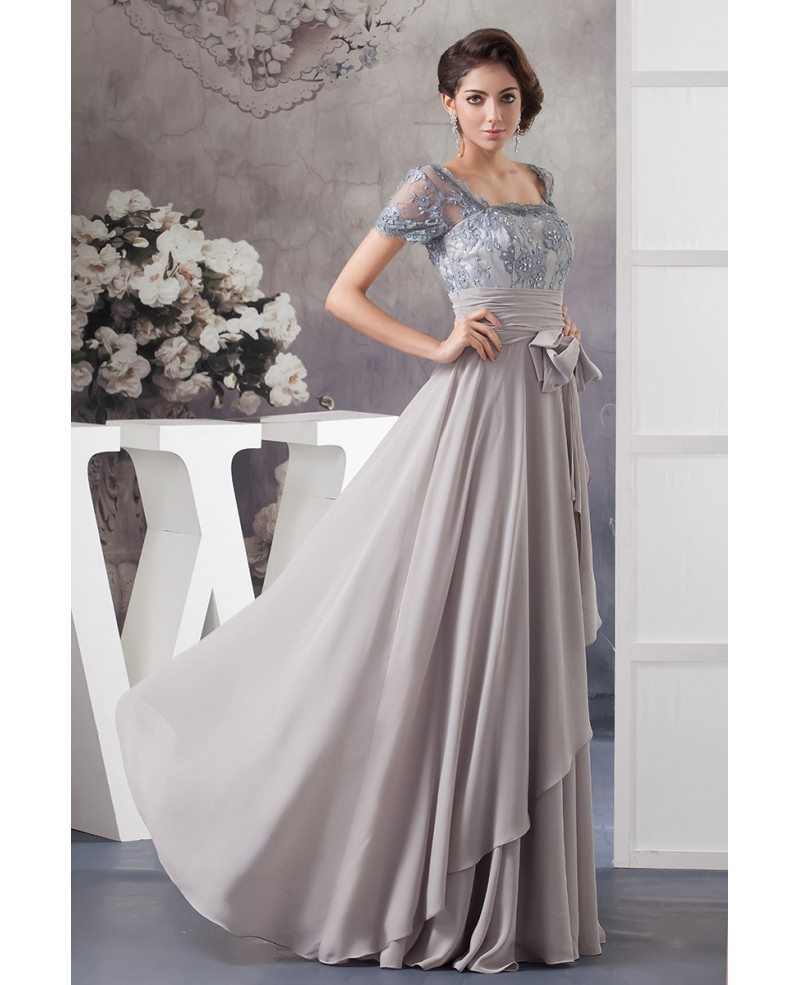 A-line Square Neckline Floor-length Lace Chiffon Mother Of
