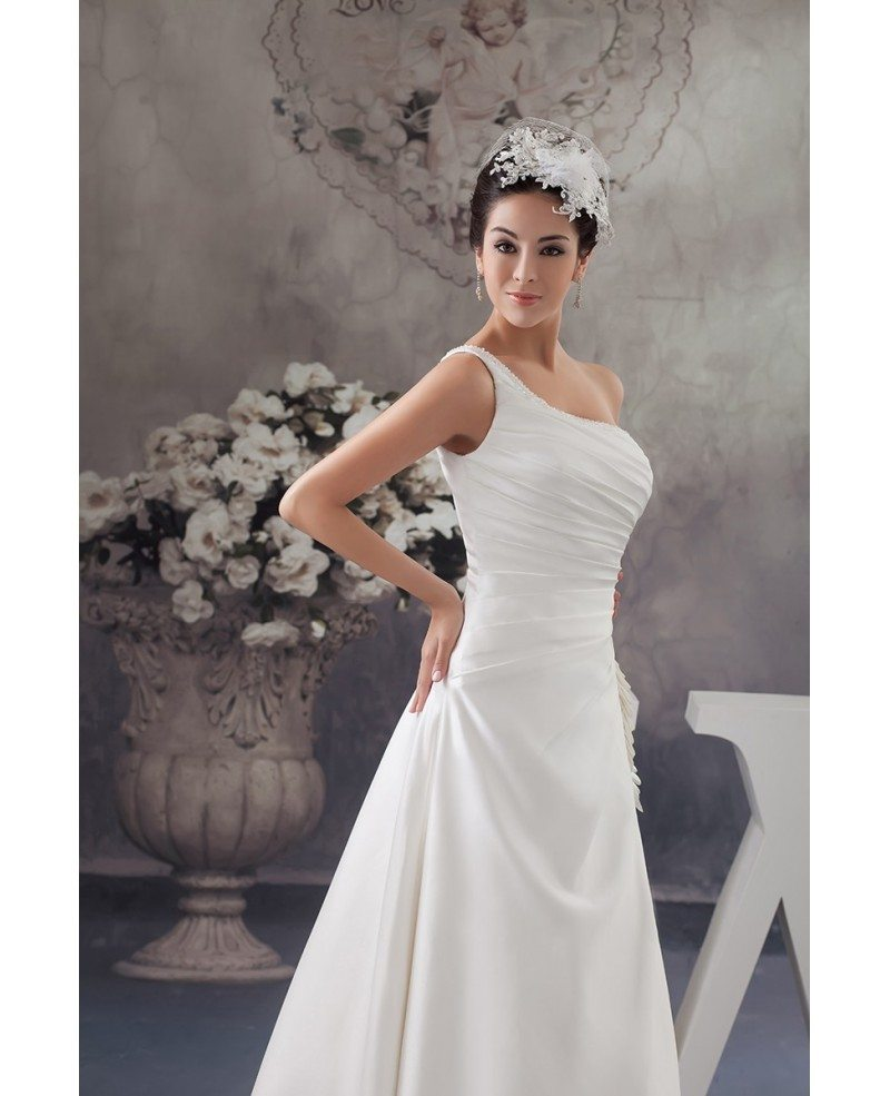 Ball gown one shoulder sweep train satin wedding dress for One shoulder wedding dress