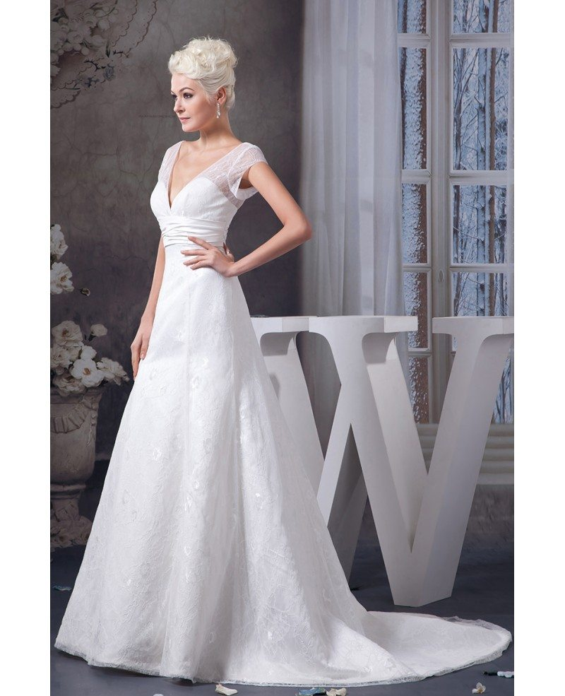 A line v neck court train lace wedding dress with beading for V neck a line wedding dresses