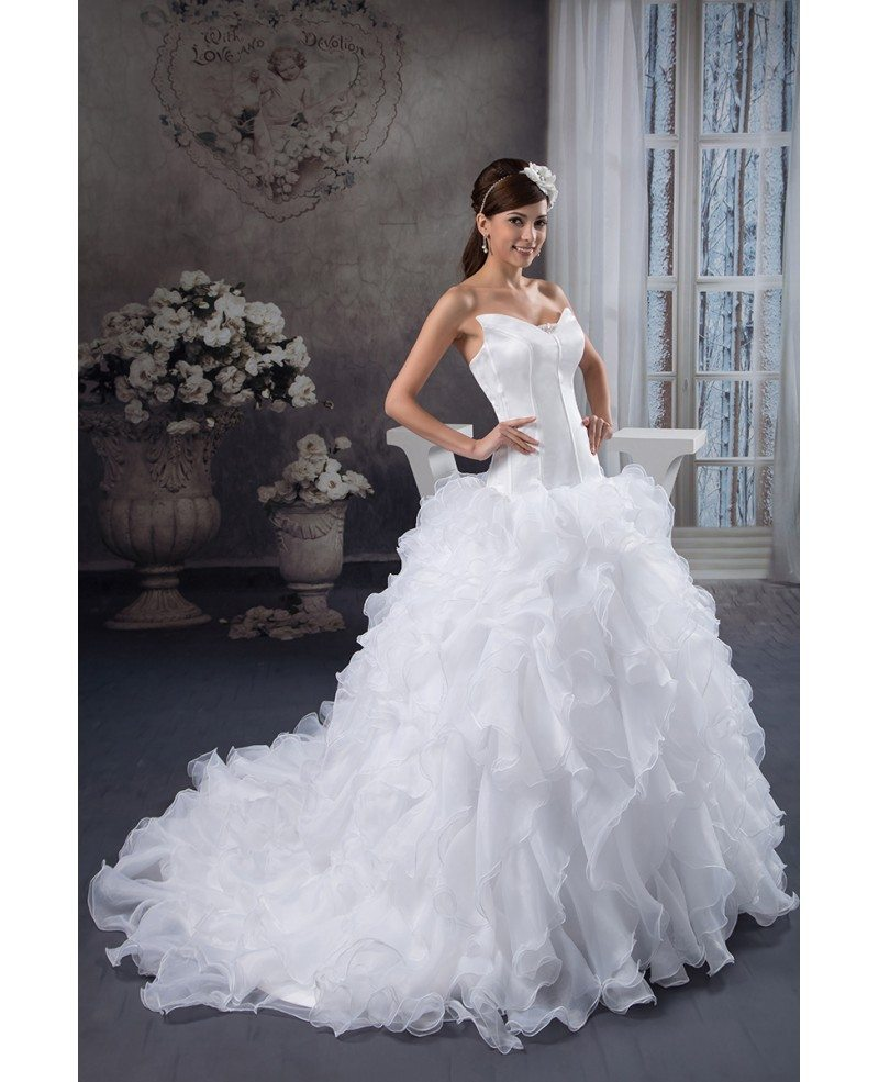 Ball-gown V-neck Cathedral Train Tulle Wedding Dress With Cascading ...