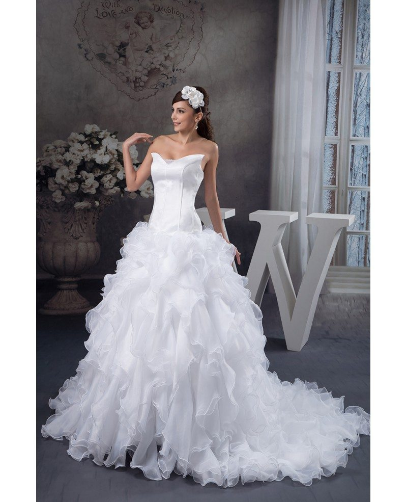 Ball gown v neck cathedral train tulle wedding dress with for Ball gown tulle wedding dress