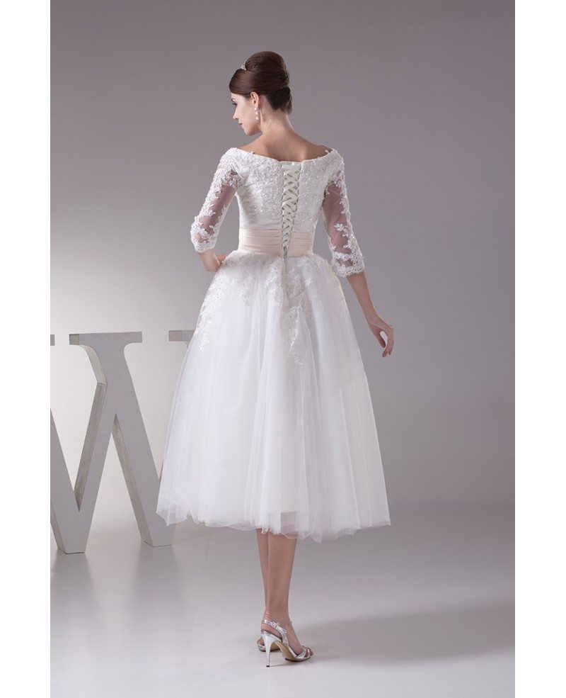 Tea-length Tulle Wedding Dress A-line Scoop Neck With