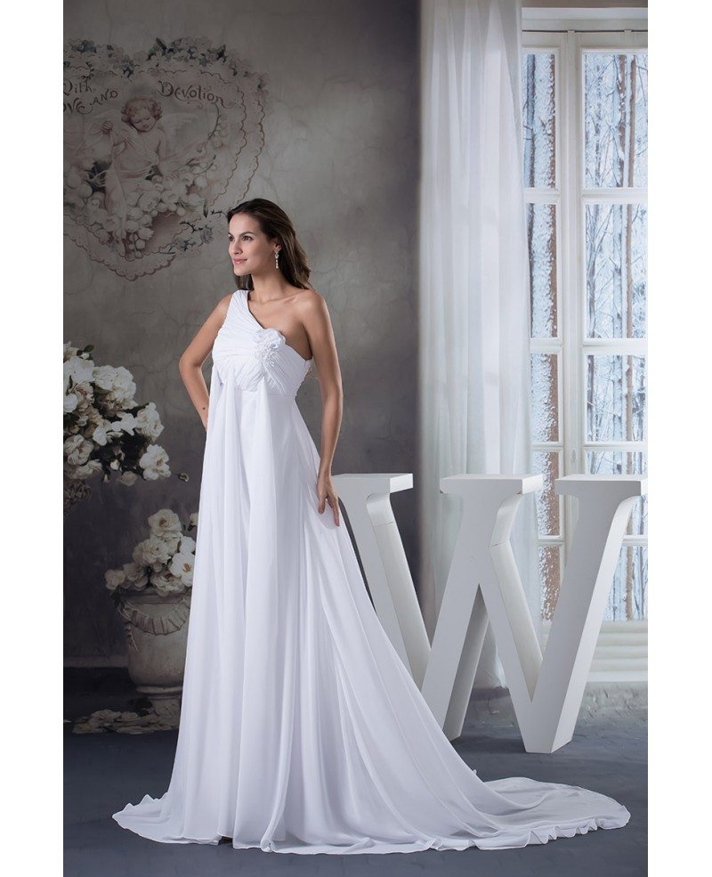 Empire one shoulder sweep train chiffon wedding dress for Sweep train wedding dress