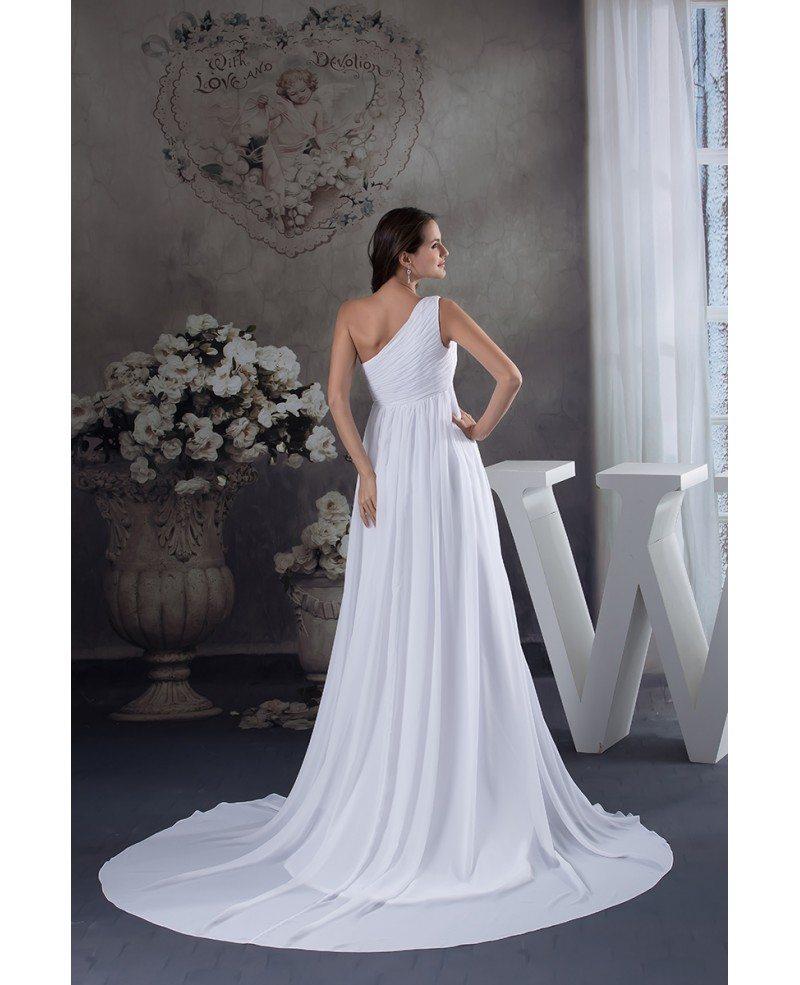 Empire One Shoulder Sweep Train Chiffon Wedding Dress