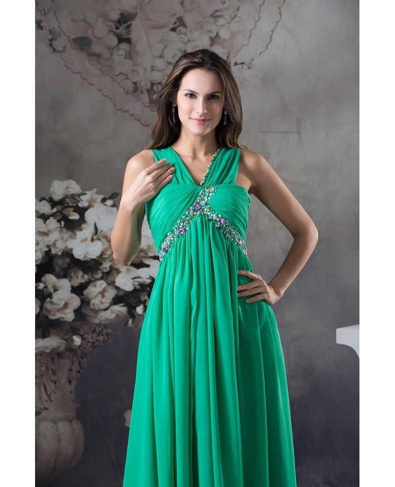 Empire V-neck Floor-length Chiffon Prom Dress With Beading #OP4619 ...
