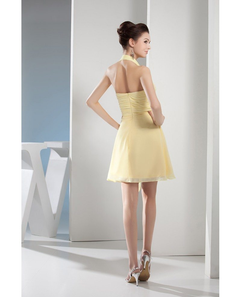 A Line Halter Short Chiffon Bridesmaid Dress Op4625 90