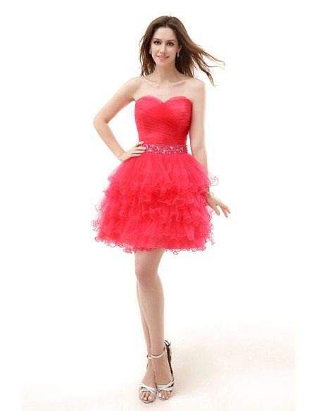 A-Line Sweetheart Short Tulle Prom Dress With Beading Cascading ...