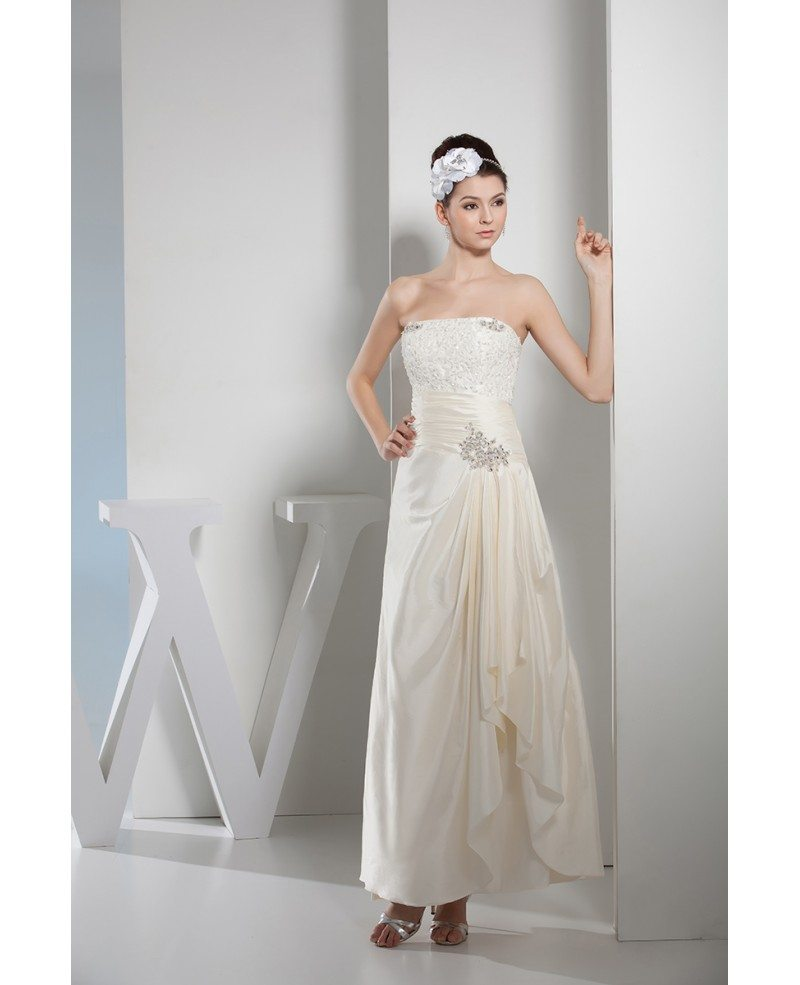 A line strapless ankle length satin wedding dress with for Ankle length wedding dress