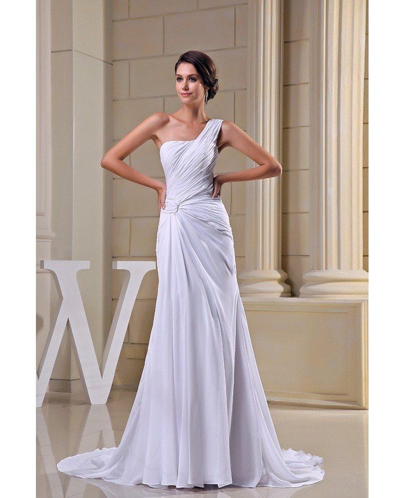 Chiffon Dressing Gown: Sheath One-shoulder Sweep Train Chiffon Wedding Dress