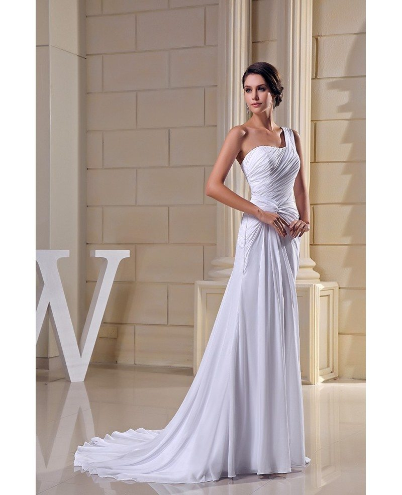 Sheath One-shoulder Sweep Train Chiffon Wedding Dress