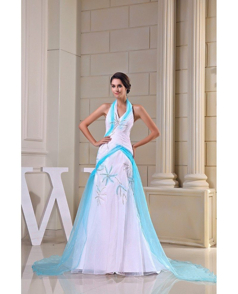 Mermaid Train: Mermaid Halter Sweep Train Tulle Evening Dress #OP5033